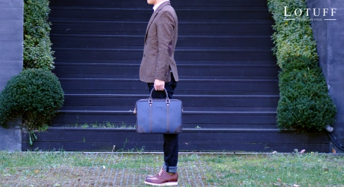 Two Line Leather Briefcase