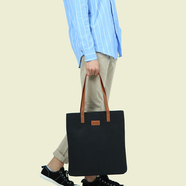 GENUINE LETHER X WAX CANVAS TOTE BAG